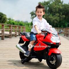 Детский электрический мотоцикл BMW K1300S Z283 (резиновые колеса, кожа)