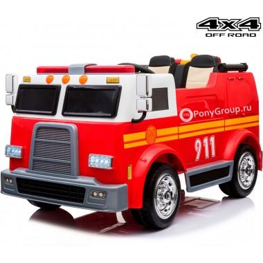 Детский пожарный электромобиль 911 M010MP 4X4 (полноприводный 4WD, двухместный с резиновыми колесами и кожаным сиденьем)