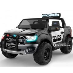Детский электромобиль FORD RANGER RAPTOR POLICE DK-F150R (ДВУХМЕСТНЫЙ, резиновые большие колеса, кожа)