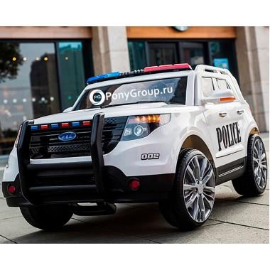 Детский электромобиль FORD EXPLORER POLICE T111MP (с резиновыми колесами, кожаным сиденьем, громкоговорителем, рацией)