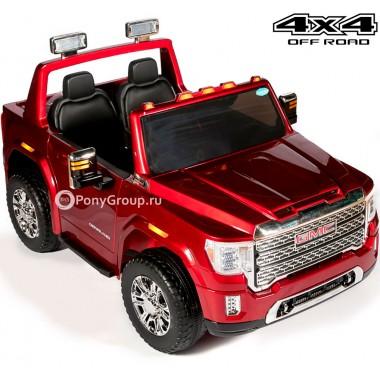 Детский электромобиль GMC HL 368 4x4 (полноприводный, двухместный с резиновыми колесами и кожаным сиденьем)