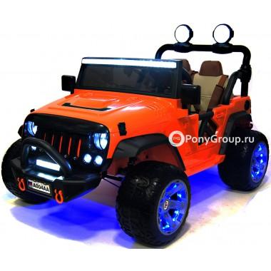 Детский электромобиль JEEP WRANGLER A004AA (двухместный с резиновыми колесами и кожаным сиденьем)