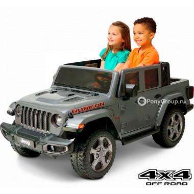 Детский электромобиль JEEP GLADIATOR RUBICON 4x4 6768R (двухместный, полноприводный 4WD с резиновыми колесами и кожаным сиденьем)