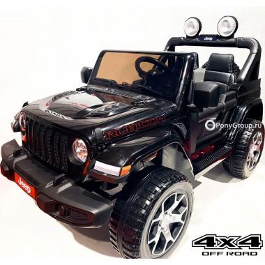 Детский электромобиль JEEP RUBICON 4x4 DK-JWR555 (полноприводный 4х4 с резиновыми колесами и кожаным сиденьем)