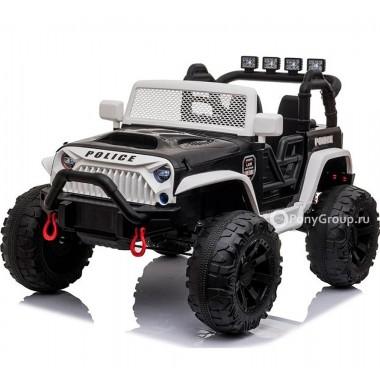Детский электромобиль JEEP WRANGLER M999MP POLICE (двухместный с резиновыми колесами и кожаным сиденьем)