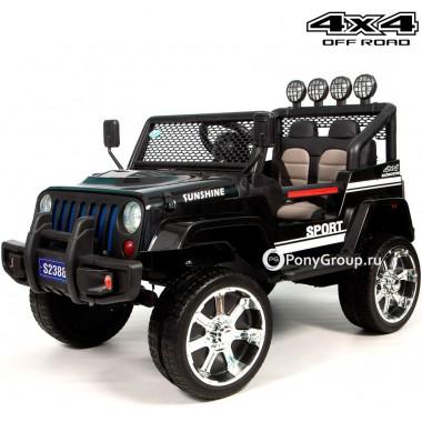 Детский электромобиль JEEP WRANGLER S2388 4x4 (полноприводный 4WD с резиновыми колесами и кожаным сиденьем)
