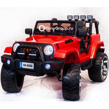 Детский электромобиль JEEP WRANGLER SH 888 4Х4 (двухместный, полноприводный 4WD с резиновыми колесами и кожаным сиденьем)