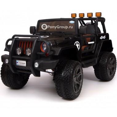 Детский электромобиль JEEP WRANGLER T555MP 4Х4 (двухместный, полноприводный 4WD с резиновыми колесами и кожаным сиденьем)