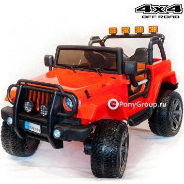 Детский электромобиль JEEP WRANGLER WHE 1688 4Х4 (двухместный, полноприводный 4WD с резиновыми колесами и кожаным сиденьем)