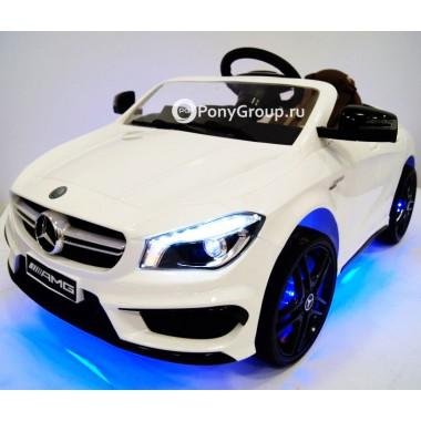 Детский электромобиль Mercedes-Benz CLA45 A777AA (с резиновыми колесами, кожаным сиденьем, подсветкой)