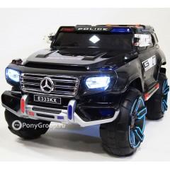 Детский электромобиль Mercedes-Benz POLICE E333KX (резиновые колеса, кожа, полицейские световые спецсигналы и сирена)