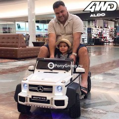 Детский электромобиль Mercedes-Benz G63 AMG 4x4 (ШЕСТИКОЛЕСНЫЙ, ДВУХМЕСТНЫЙ, ПОЛНОПРИВОДНЫЙ 4WD, резиновые колеса, кожа)