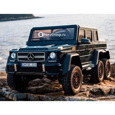 Детский электромобиль Mercedes-Benz G63 AMG 4x4 DMD318 (шестиколесный, полноприводный 4WD с резиновыми колесами и кожаным сиденьем)