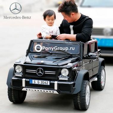 Детский электромобиль Mercedes-Benz Maybach G650 AMG 4x4 (ПОЛНЫЙ ПРИВОД, ДВУХМЕСТНЫЙ, резиновые колеса, кожа)