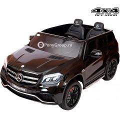 Детский электромобиль Mercedes-Benz GLS63 AMG 4WD HL228 (ПОЛНЫЙ ПРИВОД, двухместный, резиновые колеса, черные диски, кожа)