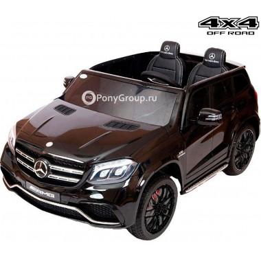 Детский электромобиль Mercedes-Benz GLS63 AMG 4x4 HL228 (двухместный, полноприводный 4WD с резиновыми колесами на черных дисках и кожаным сиденьем)