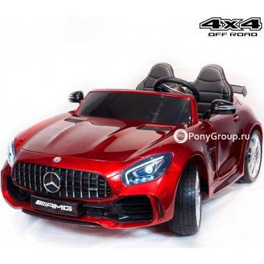 Детский электромобиль Mercedes-Benz GTR 4x4 HL289 (двухместный, полноприводный 4WD с резиновыми колесами и кожаным сиденьем)