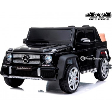 Детский электромобиль Mercedes-Benz Maybach G650 4x4 A100 (полноприводный 4WD с резиновыми колесами и кожаным сиденьем)