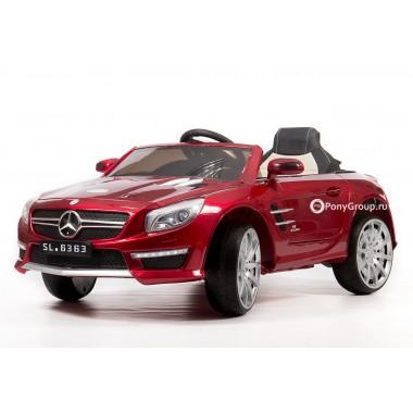 Детский электромобиль Mercedes-Benz SL63 AMG (с резиновыми колесами и кожаным сиденьем)