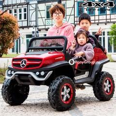 Детский электромобиль Mercedes-Benz Unimog 2011 Concept 4x4 (ПОЛНЫЙ ПРИВОД, ДВУХМЕСТНЫЙ, кожа, резиновые колеса)