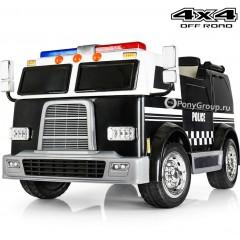 Детский полицейский электромобиль POLICE M008MP 4X4 (ПОЛНОПРИВОДНЫЙ 4WD, ДВУХМЕСТНЫЙ, резиновые колеса, кожа)