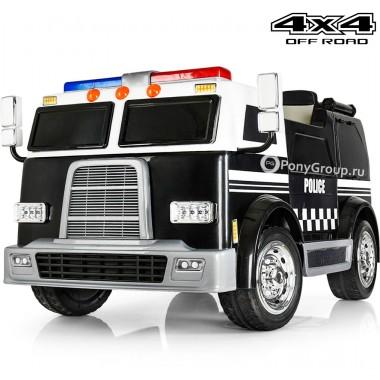 Детский полицейский электромобиль POLICE M008MP 4X4 (полноприводный 4WD, двухместный с резиновыми колесами и кожаным сиденьем)