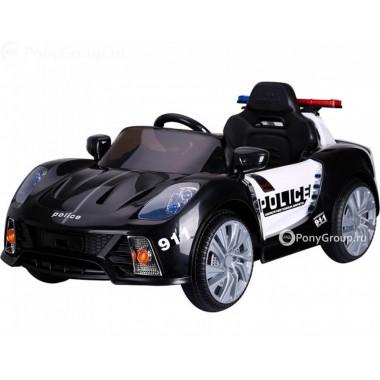 Детский электромобиль Porsche 911 Police Б005OС  (с резиновыми колесами, кожаным сиденьем и громкоговорителем)