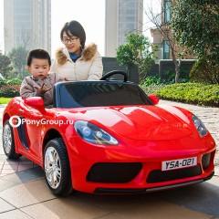 Детский электромобиль Porsche Cayman 12V (ДВУХМЕСТНЫЙ, резиновые колеса, кожа, до 15 лет)