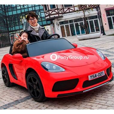 Детский электромобиль Porsche Cayman 180W 24V YSA021 (двухместный с резиновыми колесами и кожаным сиденьем, до 16 км/ч)