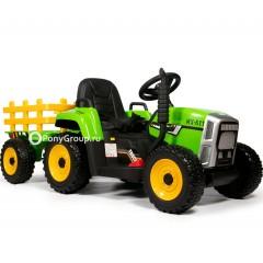 Детский электромобиль Трактор с прицепом TR 77 (резиновые колеса, кожа)