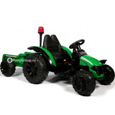 Детский электромобиль Трактор с прицепом TR 99 (резиновые колеса, кожа)