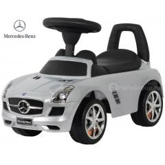 Каталка-машинка Mercedes-Benz SLS AMG с музыкой (серебристый металлик)