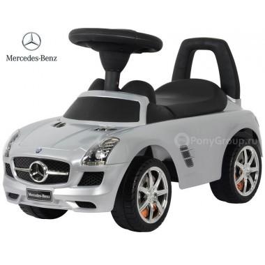 Каталка Mercedes Benz SLS AMG серебристый металлик с музыкой